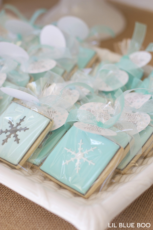 Snowflake Cookies in Turquoise, White, Blue and Grey for a Frozen Winter Birthday Party via Ashley Hackshaw / lilblueboo.com #frozen