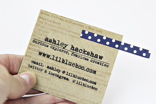 Recycled business cards with washi tape to add interest via Ashley Hackshaw / Lil Blue Boo #businesscards #recycled #diy