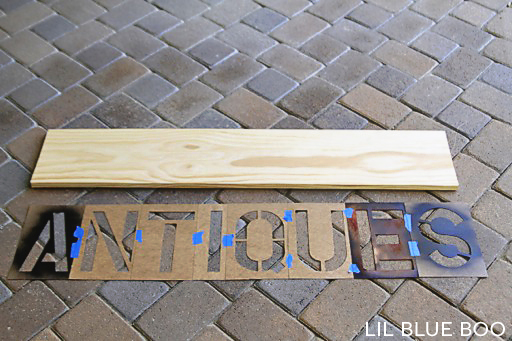 "Making a sign with pre-cut piece of wood from the hardware store and 8"" Oil Board Stencils:"