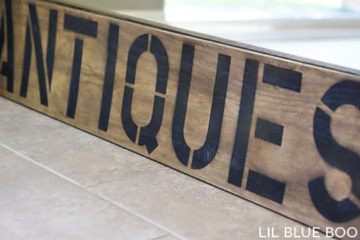 "A 10-minute DIY antique / aged ""Antiques"" sign using vinegar and steel wool."