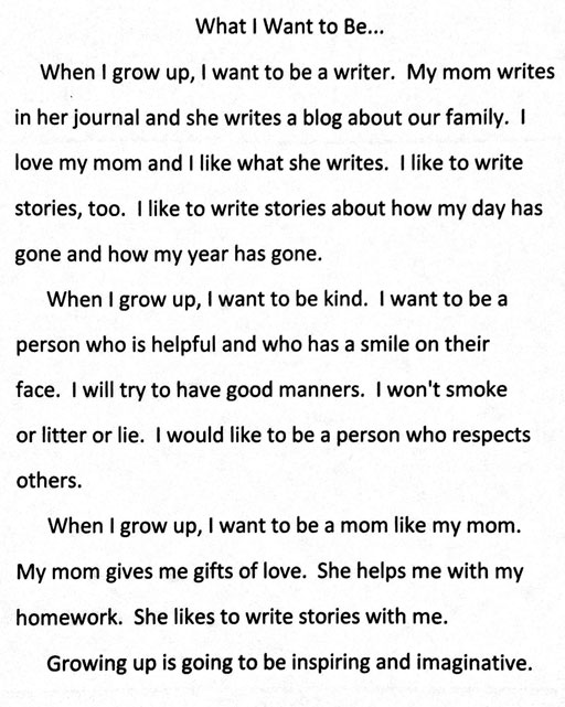"Boo's essay on growing up ""What I Want To Be"" via Ashley Hackshaw / Lil Blue Boo"