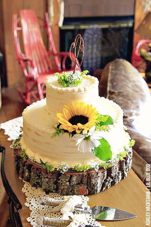 Rustic Wedding Cake Idea by Lil Harvey's Cakes & Catering in Cherokee, NC