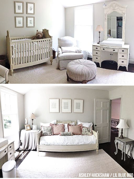 Nursery Decor - Neutral Grays and Taupe and Antique White - My sister's DIY nursery - Click through for all details