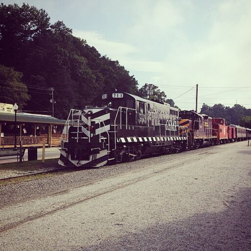 Great Smoky Mountains Railroad Departing from Bryson City Railroad