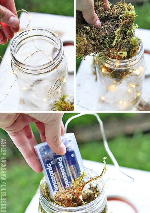 diy mason jar lanterns using LED string lights #diy #masonjar #wedding