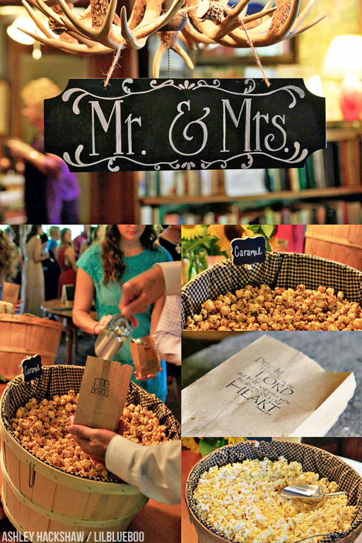 Popcorn Bar at wedding Hemlock Inn