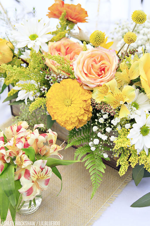 yellow and coral wedding reception ideas