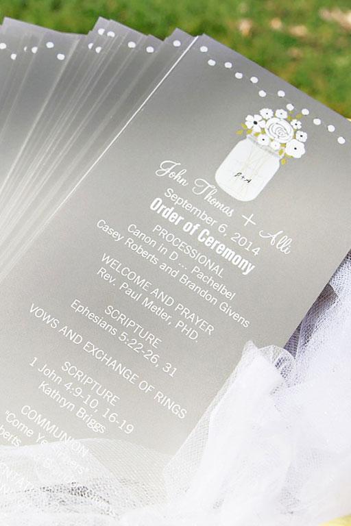 mason jar wedding invitations and programs