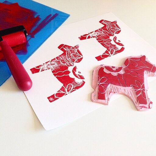 Rustic Scandinavian Christmas Decor - Dala Horse Print