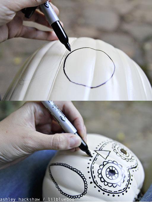 Pumpkin Decorating Ideas without Carving - Sharpie Doodle Owl