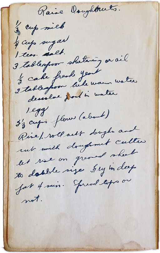 Vintage cookbook with old recipe written in the back - Rumford Cook Book 1941
