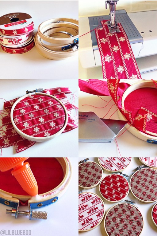 Handmade Ribbon Ornaments Christmas Tree - Embroidery Hoop