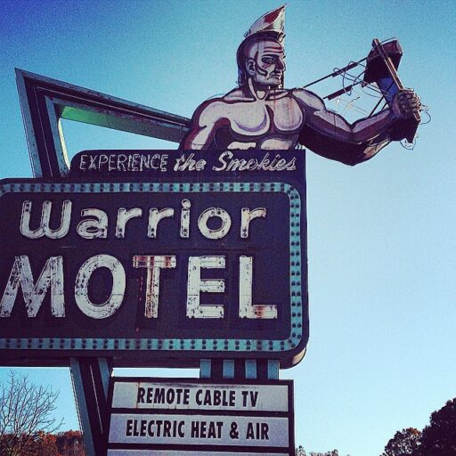 Abandoned Warrior Motel near Cherokee and Bryson City