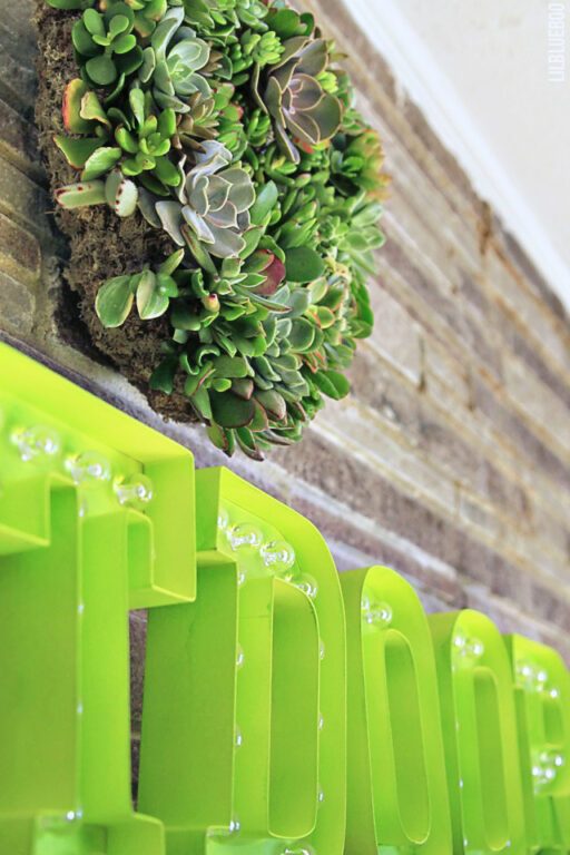 Succulant Wreath and Marquee Letters Decor