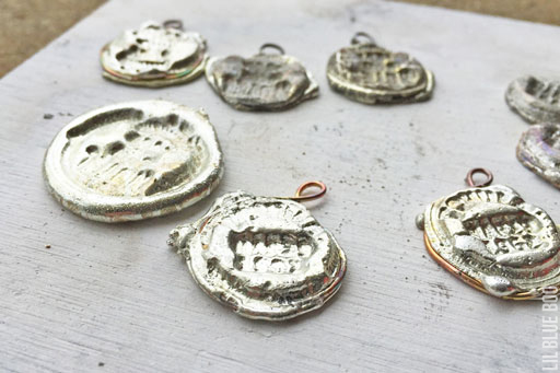 Rubber stamping melted solder to make pendants