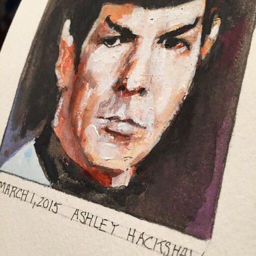Portrait Painting of Spock - Leonard Nemoy