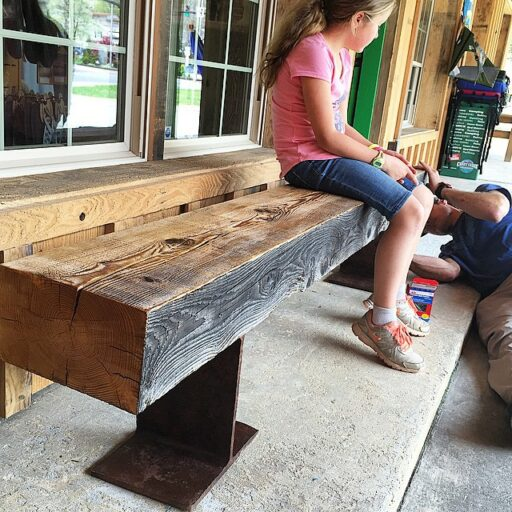 reclaimed barn timber and i-beam project