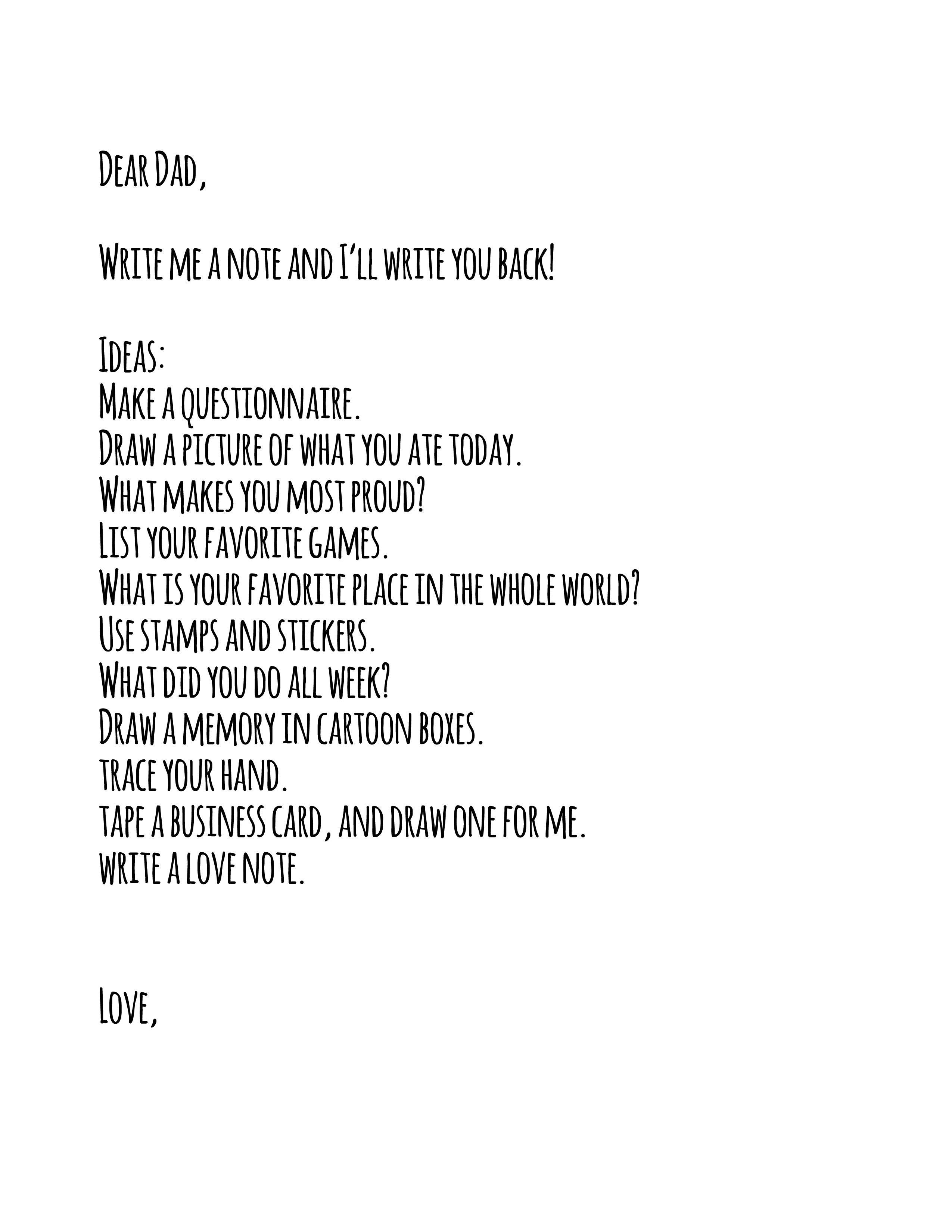 dear dad letter