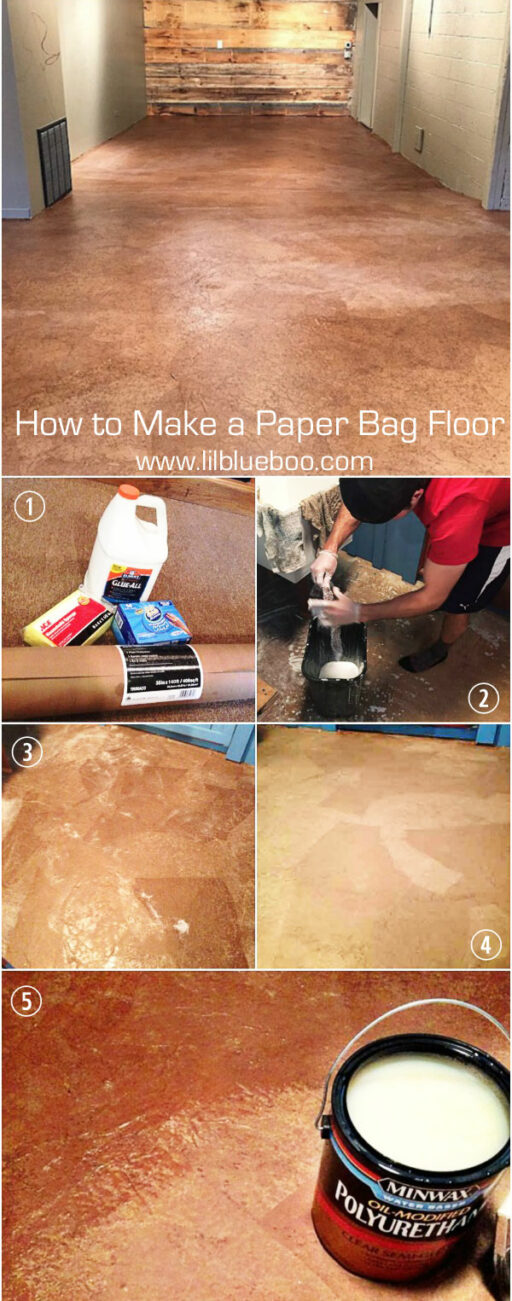 Instructions for making a paper bag floor - recycled flooring