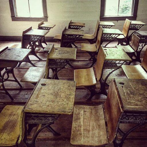 Cataloochee School House - Old School Desks