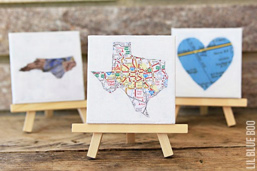 DIY  Stenciled map painting