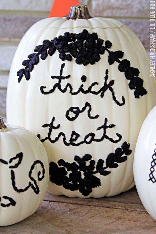 Embroidered pumpkins no-carve pumpkin ideas