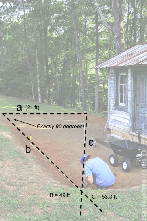 how to square a fence layout using math
