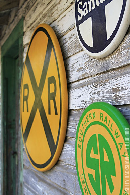 old railroad crossing signs
