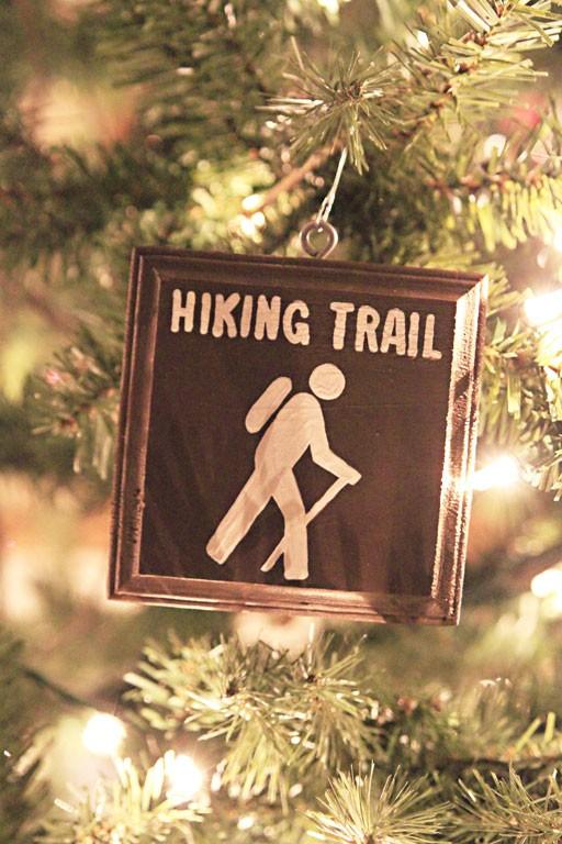 vintage christmas tree ornaments - hiking themed