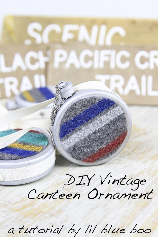 How to make this DIY Vintage Canteen for handmade Christmas ornaments - hiking and camping themed ornaments this year