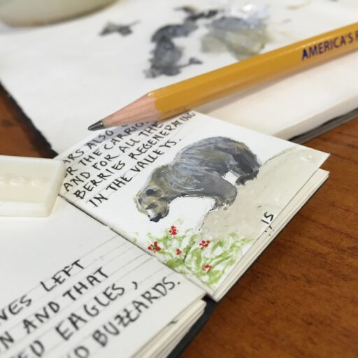 Yellowstone grizzly bear painting - tiny book show