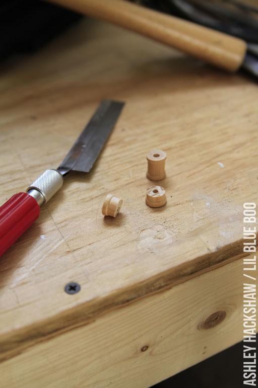 Cutting a wood spool