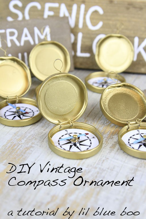 DIY Ornament Ideas - How to make a compass ornament - recycled bottle caps - handmade christmas tree ornaments #diy #hiking #camping