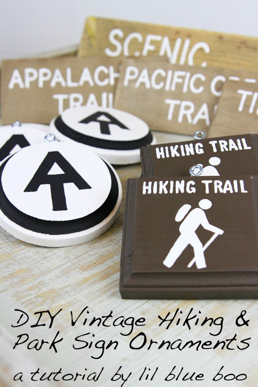 Vintage Rustic Hiking and Trail Sign Ornaments #diy #tutorial #hiking #christmas #michaelsmakers