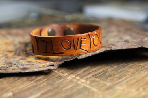 diy valentine day gifts for him - carved leather bracelet