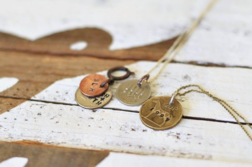 Jewelry Making Idea for Valentine's Day - Stamped Coin Necklaces