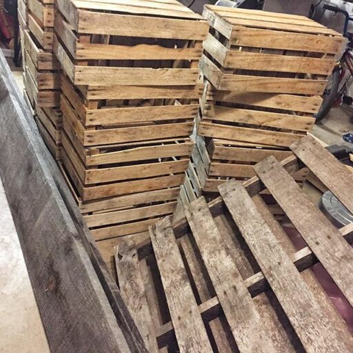 old crates for decor and organization