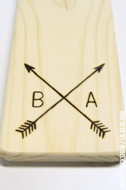 DIY Wood Burned Monogram on Cutting Board