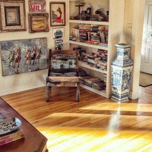 morning light in the living room - living room thrift store decor