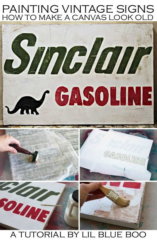 Painting Letters on Canvas - Vintage Sign on Canvas