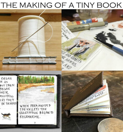 "The making of a tiny miniature book with tiny miniature paintings. 2.5"" tall by 1.5"" wide. For the Tiny Book Show."