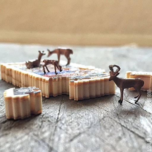 miniature wood projects - tiny puzzle made from postage stamp