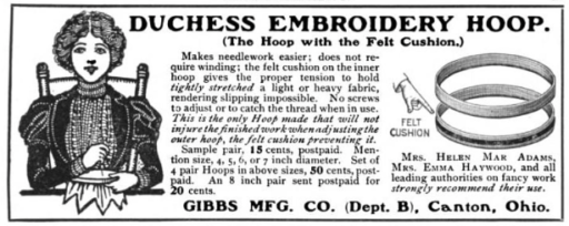 Old Duchess embroidery hoop ad