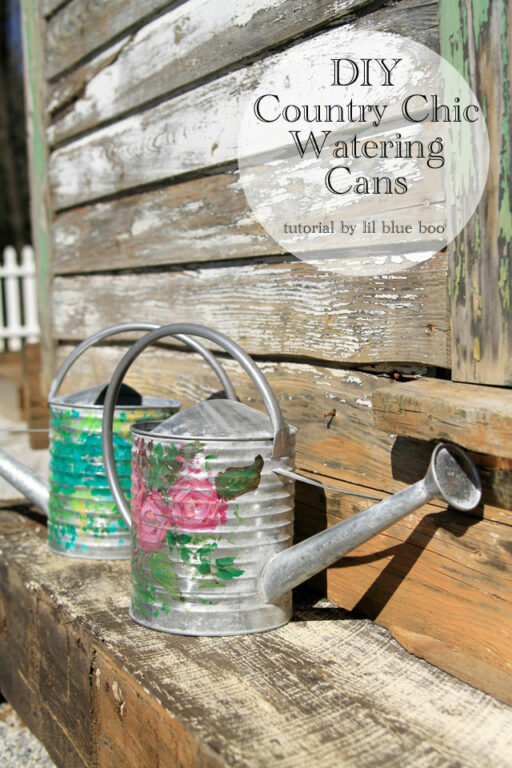 DIY Hand painted Decorative Country Shabby Chic Watering Cans - using stock galvanized metal watering cans from Michaels #michaelsmakers #galvanized #gardening #springdecor #springtabledecor