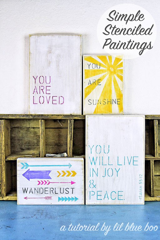 Simple Stenciled Quote Paintings - stencil quotes for signs