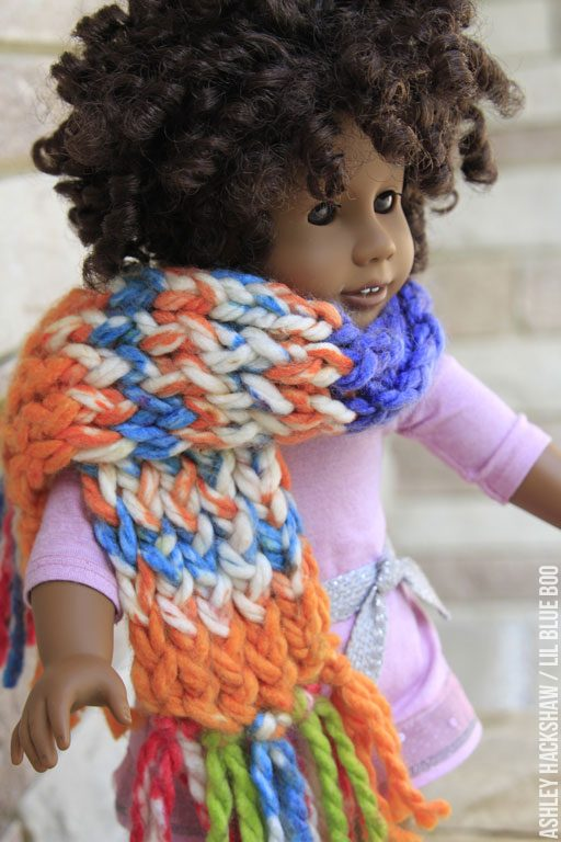 crochet scarf for american girl doll - doll sized loom scarf