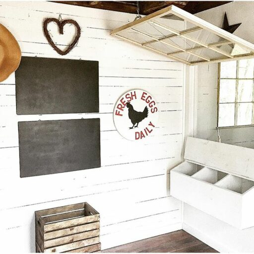 Inside the chicken coop and the new nesting boxes - chicken coop decor