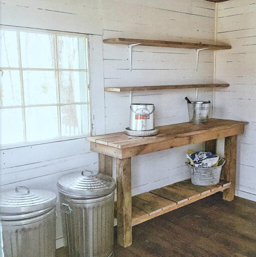 DIY potting bench - potting shed decor - garden shed