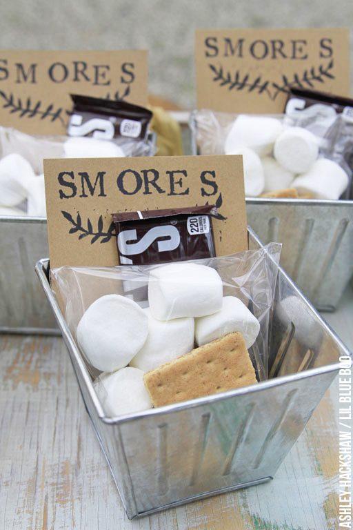 Smores Party idea s'mores - wedding favor party favor summer party