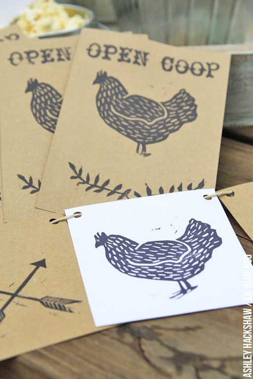 Eco-Friendly Party Decor - Rustic party decor ideas that are also eco-friendly - My chicken themed party using hand stamped kraft paper decor. Wedding and summery party decor ideas.